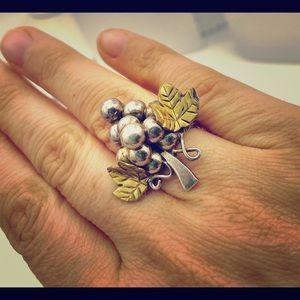 🍇 Vintage silver grapes ring, adjustable 🍇
